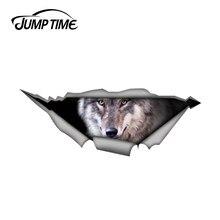 Tempo de salto 13cm x 4.8cm lobo carro decalque 3d pet gráfico vinil decalque janela do carro portátil pára-choques carro adesivos