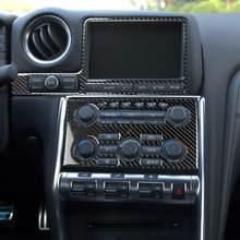 Fibra de carbono interior capa cd painel volante capa engrenagem shift guarnição kit acessórios do carro apto para nissan gtr r35 2008-2016