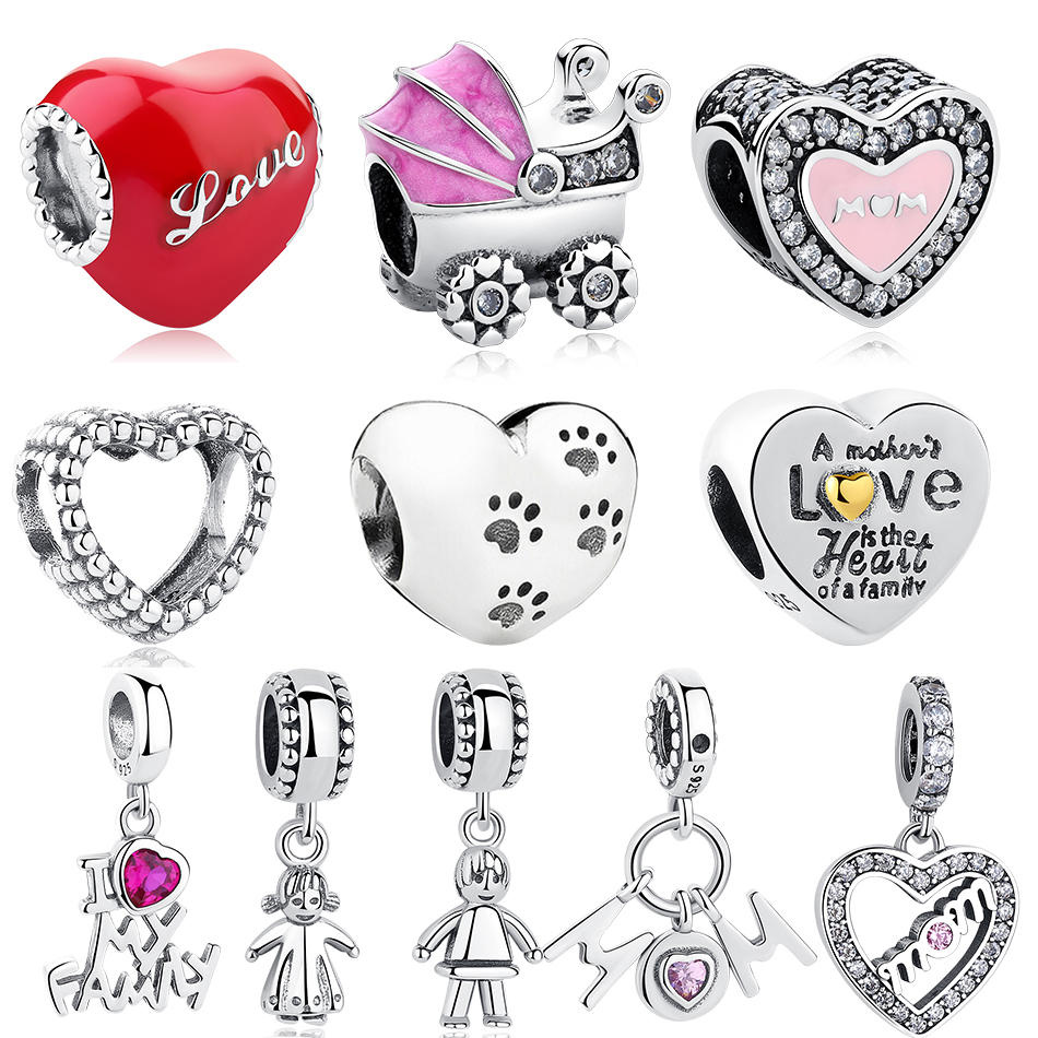 Real 925 Sterling Silver Heart Baby Carriage Love MOM Girls Charm Beads Fit Pandora Charms Bracelet Silver 925 Jewelry Making