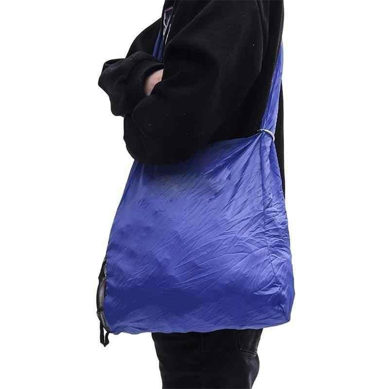 Sihir Lipat Tas Belanja Lipat Eco Tas Belanjaan Dapat Digunakan Kembali Daur Ulang Kain Shopper Tas Kapasitas Besar Top Handle Bag