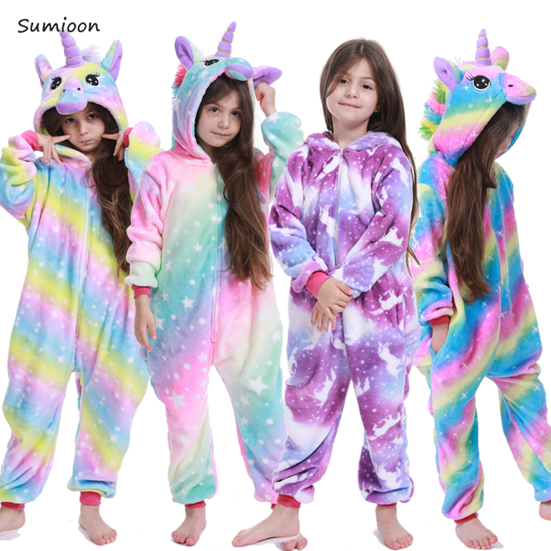 Kigurumi Unicorn Children's Pajamas Animal Onesie Kids Costume Stitch Panda Pyjama Boys Girls Flannel Rainbow Unicorn Sleepwear