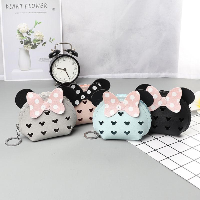Disney Mickey Mouse Minnie Hollow PU Coin Purse Cute Cartoon Mini Lady Wallet Multifunction Coin Bag Headphone Bag Handbag Gift