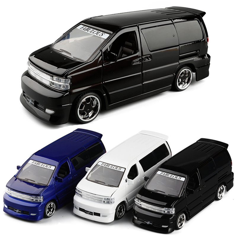3 Colors 1/32 Truck Van Diecast Model Car Bus MPV Boy Girl Gifts Collection With Light and Sound Gift Toys V137