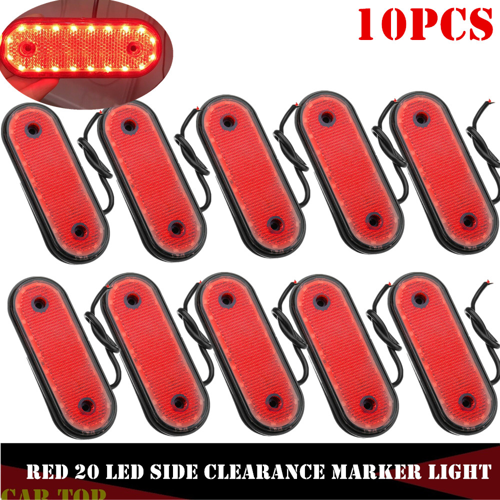 10PCS LED 24v Trusk Markerings Light Side Marker Lamp Pickup Truck Red Parking Lights Marker Lights For Trucks