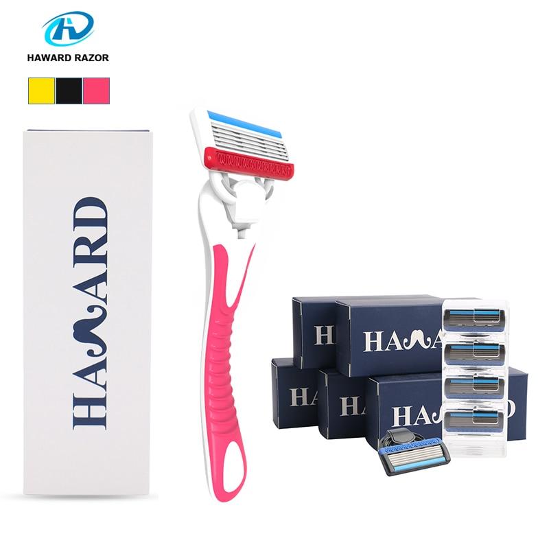 HAWARD Razor Men's Manual Shaver Women Bikini Hair Removal Razor 1 Handle + 22 Cartridge 5-layer Shaving Blades