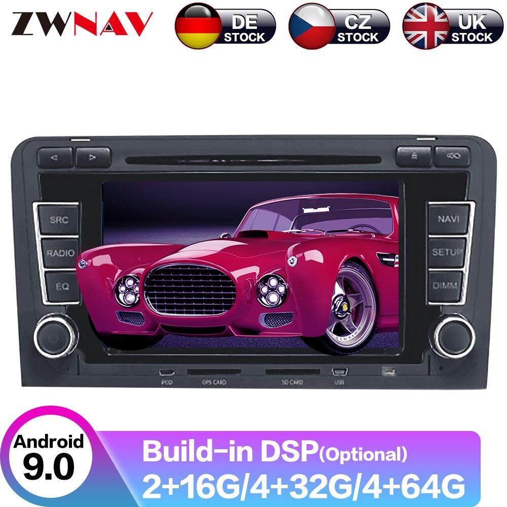 Android 10 DSP GPS навигация автомобильный Радио dvd плеер для Audi A3 S3 2003 2012 автомобильный радио головное устройство Бесплатная камера мультимедийный