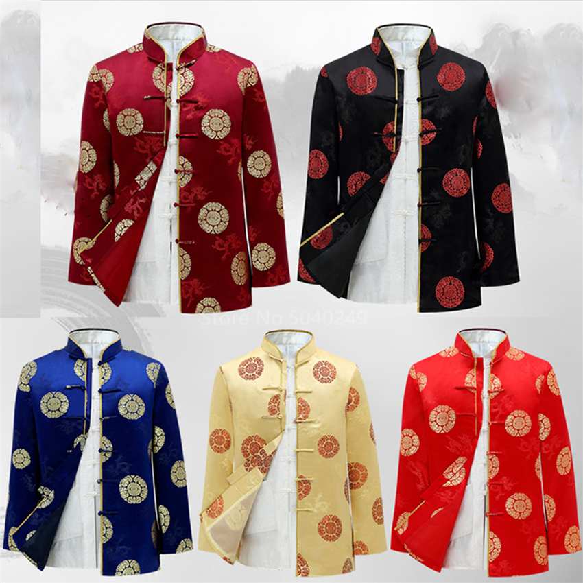 Tang Suit Traditional Chinese Clothing For Men Kung Fu New Year Clothes Birthday Party Hanfu Blouse Chinese Tops Vintage Jacket