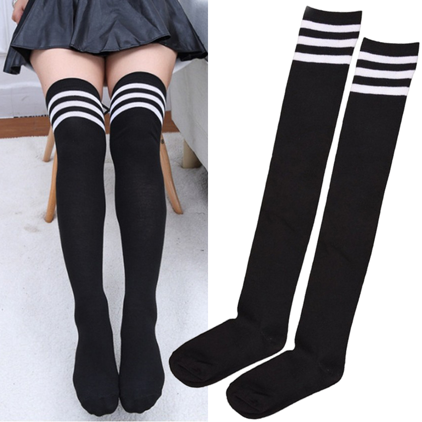 Sexy Striped Stocking Thigh High Warm Stockings for Women Winter Socks Girls Leggings Skirt bottoming Base Sock Long