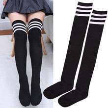 Sexy listrado meia coxa alta quente meias para as mulheres meias de inverno meninas leggings saia fundo meia longa