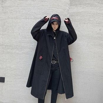 Men Loose Hooded Trench Coat Long Jacket Overcoat Male Streetwear Hip Hop Gothic Ribbon Windbreaker Cloak Outerwear