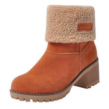 Kobiety zimowe futro ciepłe buty na śnieg panie ciepła wełna botki wygodne buty plus rozmiar 35-43 kobiety # YL5 tanie tanio MUQGEW Flock Połowy łydki Platforma Stałe Boots Dla dorosłych Plac heel Podstawowe Mesh Plac toe Zima RUBBER Wysoka (5 cm-8 cm)