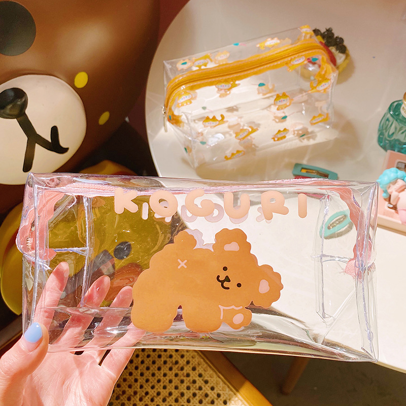Cartoon Bear Girl Makeup Bag Transparent Women Cosmetic Bag PVC Beauty Makeup Kit Travel Toiletry Organizer Zipper Case Holder