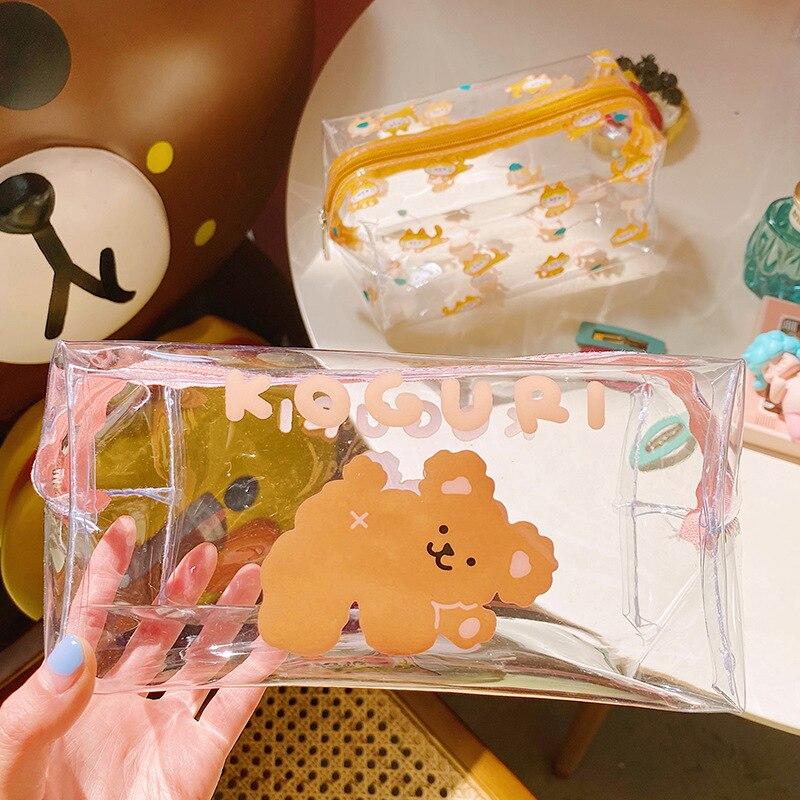 Cartoon Bear Girl Makeup Bag Transparent Women Cosmetic Bag PVC Beauty Makeup Kit Travel Toiletry Organizer Zipper Case Holder