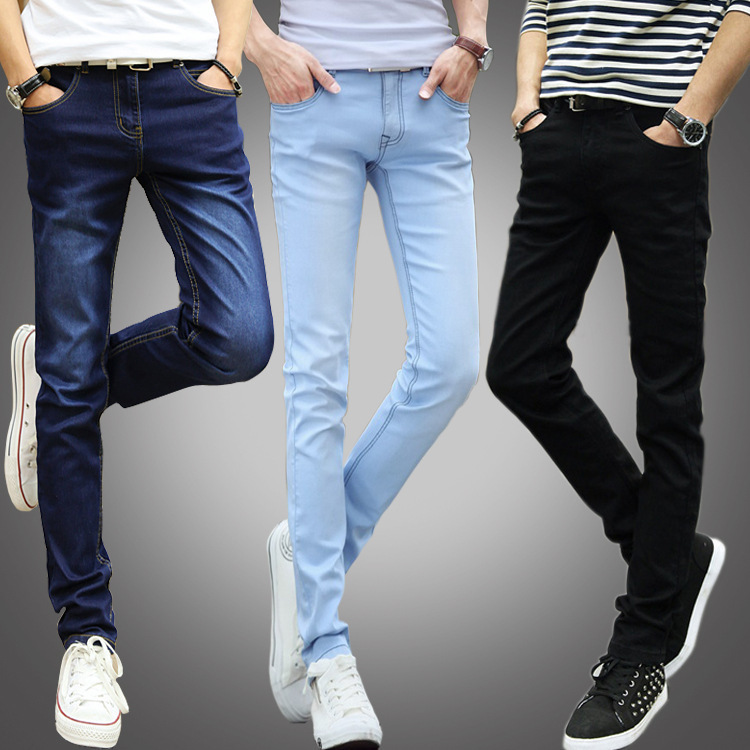 Spring And Autumn New Style Jeans Men's Skinny Pants Slim Fit Teenager Students Korean-style Slimming Black And White With Patte