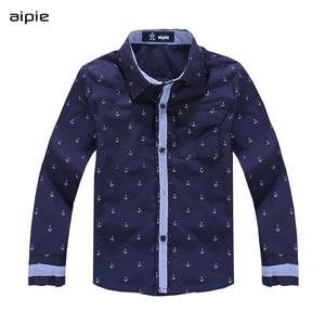 Image 3 - Kinderen Shirts Afdrukken Anker Patroon Katoen 100% Lange Mouwen Jongen Shirts Fit Voor 3 14 Jaar Kinderen kleding