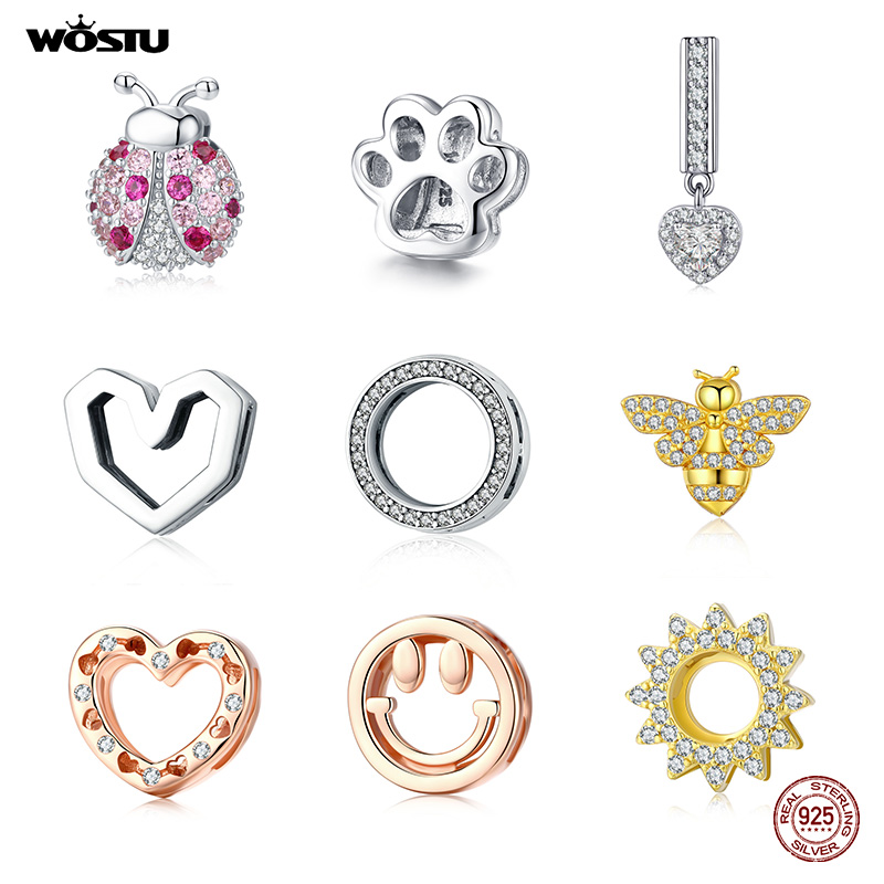 WOSTU 925 Sterling Silver Ladybug Bee Beads Heart Footprint Round Charm Fit Original Strand Bracelets & Bangles Jewelry Making