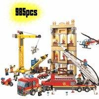 Fire Fighting Trucks Car Helicopter Boat Building Blocks compatible legoinglys City Firefighter Bricks children Toys gift