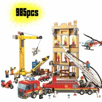 Fire Fighting Trucks Car Helicopter Boat Building Blocks compatible legoinglys City Firefighter Bricks children Toys gift