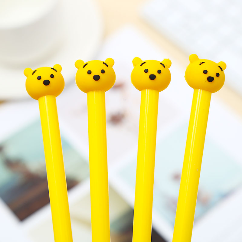 Cute Kawaii Yellow Bear Animal Gel Pens Blue Ink Creative Stationery School Office Supply Stationary Thing Material Accessory
