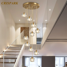 Modern Luxury Crystal Chandeliers Lighting LED Nordic Clear Crystal Balls Pendant Hanging Lamp for Staircase Restaurant youlaike modern crystal chandelier spiral design long staircase hanging chandeliers lighting indoor hallway crystal lights