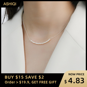 ASHIQI 925 Sterling Silver Smile Necklace Natural Freshwater Pearl Jewelry for Fashion women