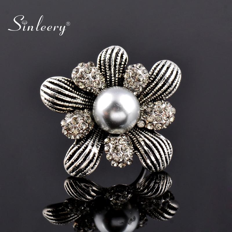 SINLEERY, винтажные большие кольца с искусственным серым жемчугом для женщин, античное серебро, кубический цирконий, цветок, ювелирное изделие, Anel JZ075 SSE