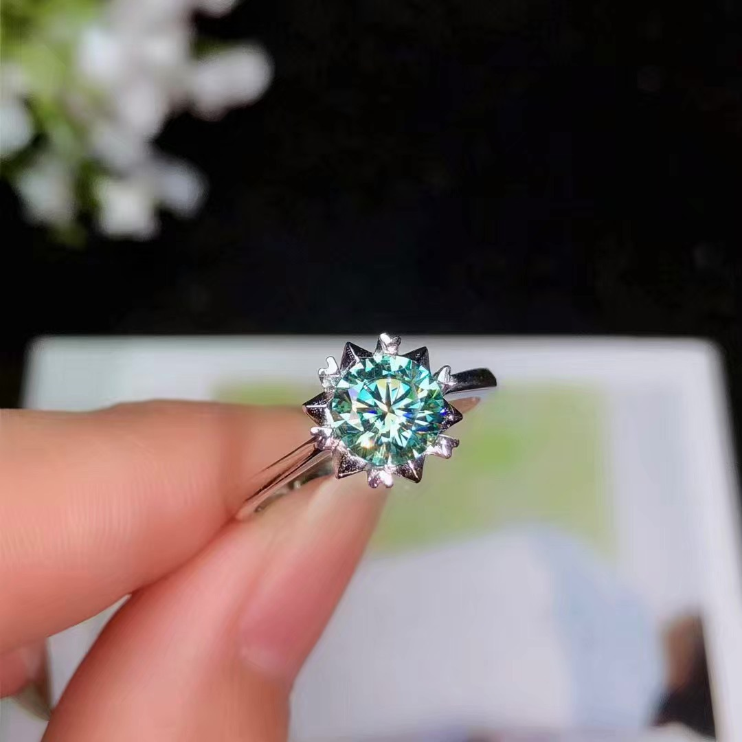 BOEYCJR 925 Silver 1ct/2ct Blue Moissanite VVS Engagement Wedding Diamond Ring With national certificate for Women