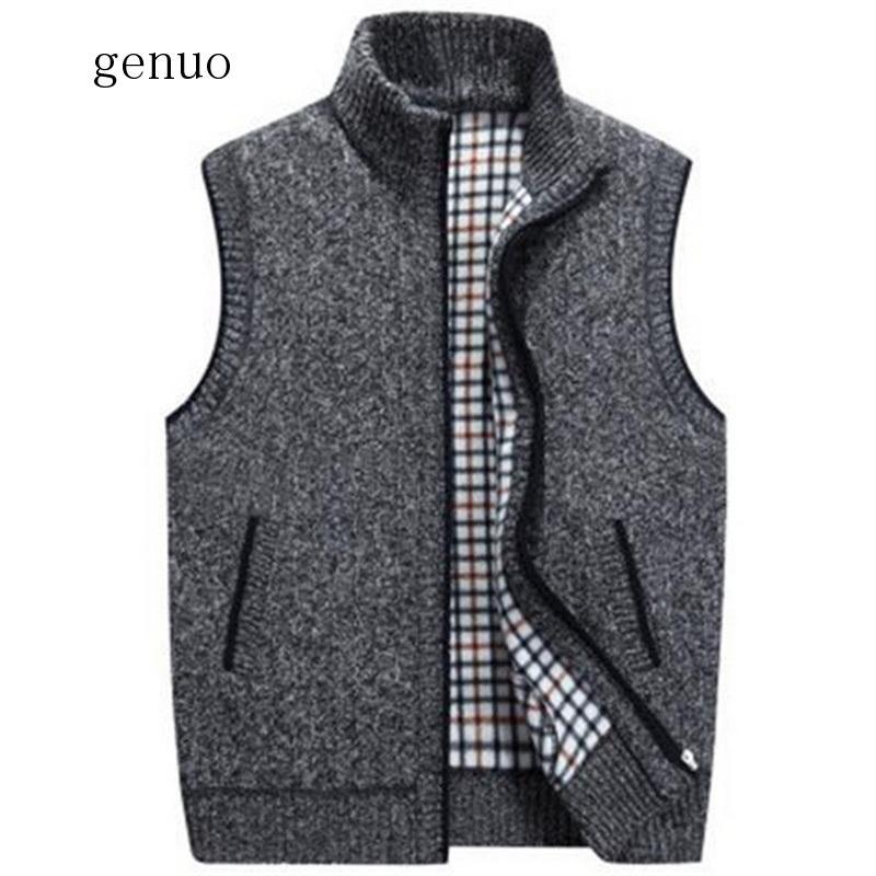 2020 New Mens Winter Wool Sweater Vest Mens Sleeveless Knitted Vest Jacket Warm Fleece Sweatercoat Plus SIze