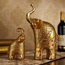 2PCS Luxury European Elephant Figurine Livingroom TV Cabinet Deer Statues Crafts Home Furnishing Decoration Desktop Ornament Art