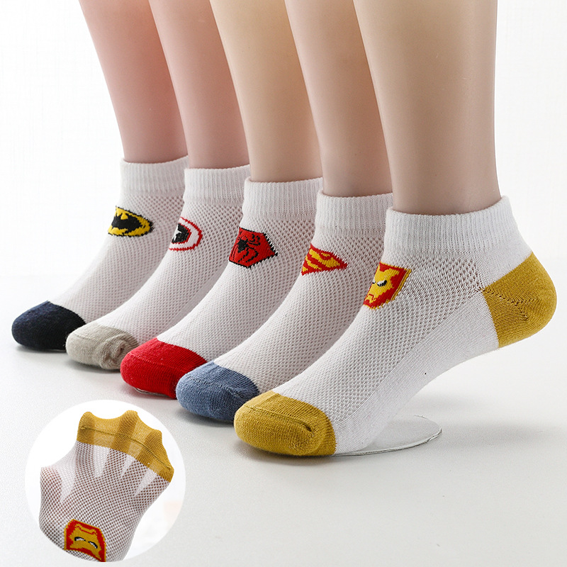 CHILDREN'S Socks Summer Thin Section Cotton Socks BOY'S Short Socks Baby Big Kid Cartoon Summer Boy Mesh Children No-show Socks