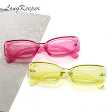 LongKeeper Vintage Small Pink Rectangle Sunglasses Women Bra