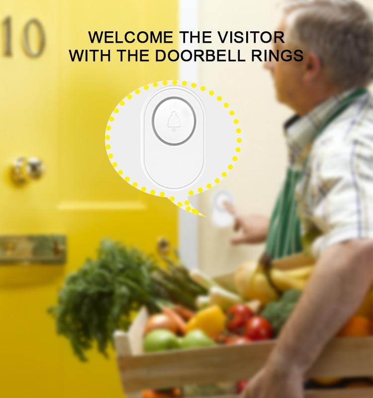 H287f145fb4f549a4ab5b1ce214d678b6k - CPVAN Wireless Doorbell Alarm System Smart WIFI Doorbell Strobe Siren Tuya App 58 Sound Compatible Home Security Alarm System