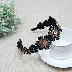 New European American Fashion Flower Style Headdress Gradient Color Effect Hair Accessories Inlaid Imported Crystal Hair Hoop