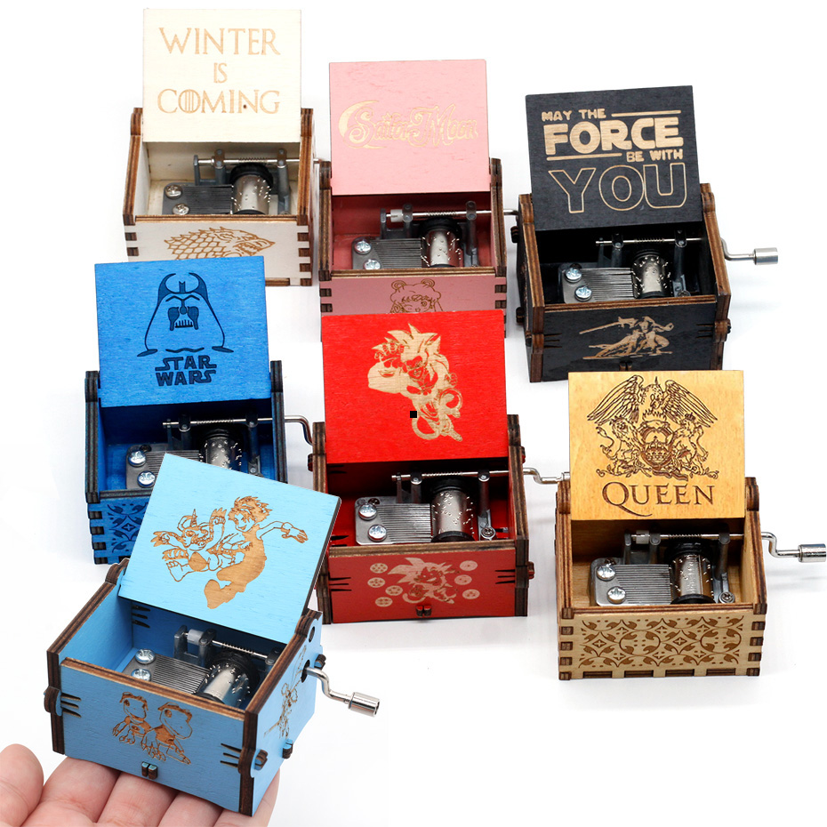 Multi Color Music Box Red Dragon Ball Black Game Of Throne Wooden Music Box Star Wars Caja Musica Musique Party Souvenir Gifts
