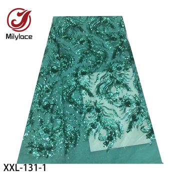2020 Latest French Tulle Lace with Sequins Embroidered 5 Yards High Quality Nigerian Lace Dress Fabric Wedding XXL-131