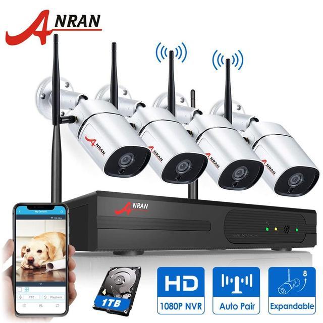 Anrun CCTV نظام الكاميرا الأمنية اللاسلكية نظام مراقبة بالفيديو عدة 1080P HD للرؤية الليلية في الهواء الطلق كاميرا واي فاي المنزل