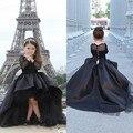 Пышные платья с длинными рукавами для девочек, черное платье с высоким и низким вырезом для девочек и мам, Платья с цветочным рисунком для де...