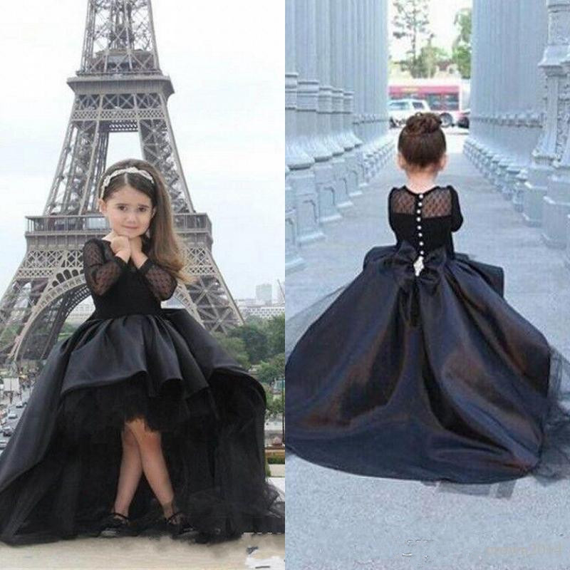 Long Sleeves   Girls   Pageant   Dresses   Black High Low Mother And   Girl     Dress     Flower     Girl     Dresses   For Teens Formal Holy Communion Gown