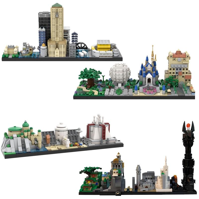 Şehir binaları geri gelecek peri masalı sihirli kale ev film Skyline mimarisi yapı taşları şehir oyuncakları