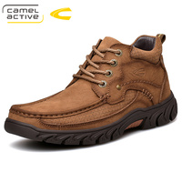 Camel Active New Winter Retro Men Boots Top Quality Genuine Leather Boots Men Winter Ankle Boots Fashion Platform Men Shoes