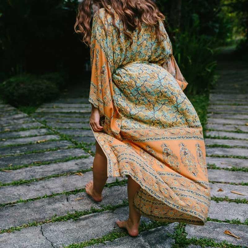 2018-women-s-Wrapped-boho-dress-floral-print-summer-dresses-V-neck-3-4-kimono-sleeve (1)