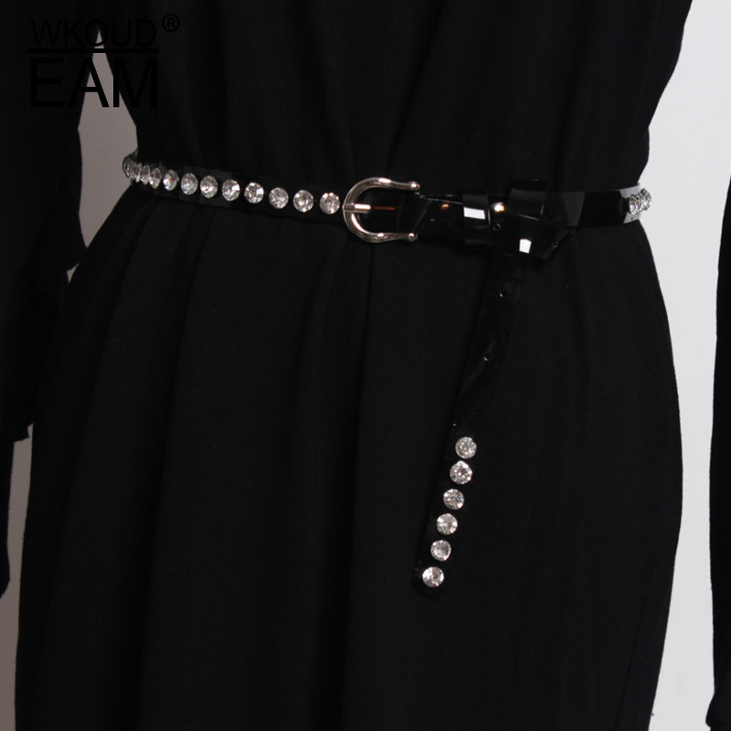 WKOUD EAM New Design 2020 Fashion Trendy Belts For Women Solid Transparent Pearl Diamond Setting Thin Waistbands Female ZK009