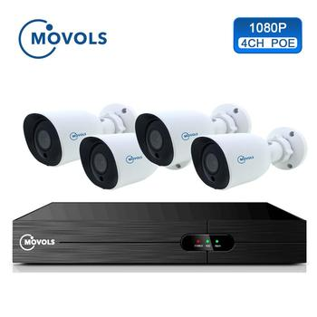 Movols 4CH 1080P POE NVR Kit H.265 Security Camera System 2.0MP IR Indoor Outdoor CCTV 4PCS POE IP Camera Video Surveillance Set sunell ea 92491 4ch 1080p professional ip camera