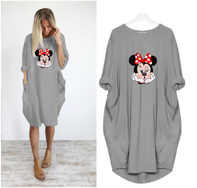 2020 Dress Women Cute Printing Pocket Loose Dresses Vintage Fall Maxi Clothes Party Casual Dresses Woman Plus Size Leopard Dress 23