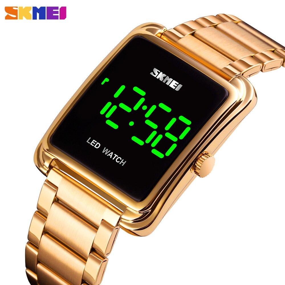 SKMEI Luxury Men's Digital Watch LED Light Display Male Wristwatch Electronic Stainless Steel Waterproof Clock Relogio Masculino