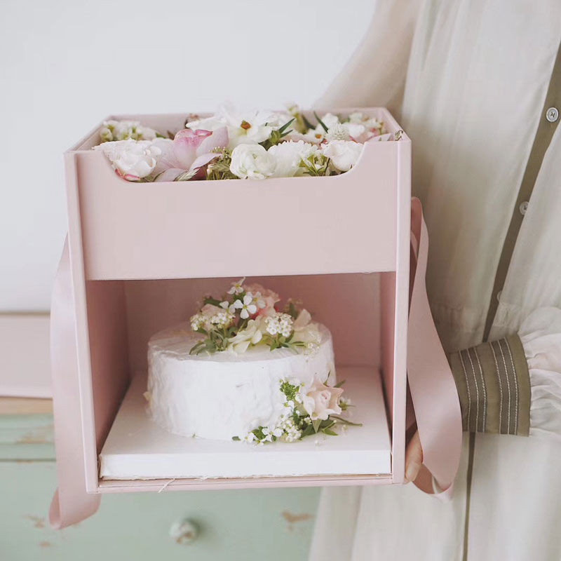 Rose Wedding Gift Drawer Color Simple Layer Box Cake Flower Leather Hand Solid Box Cake Double Flower Held Surprise Birthday Box