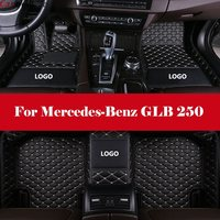 Car Floor Mats Waterproof Leather Floor Mat +LOGO Car styling Interior Car Carpet Floor Mat For Mercedes Benz GLB 250