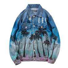 Vintage Denim Bomber Jacket Ripped Holes Sea Beach Coconut Tree Hip Hop Jeans Jacket Streetwear 2019 Retro Denim Jacket недорого