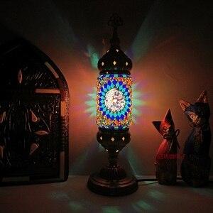 Image 5 - Nuovo stile Turco mosaico Lampada da tavolo vintage art deco Handcrafted lamparas de mesa di Vetro romantico letto lamparas con mosaicos