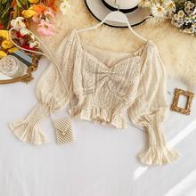 Новая модная женская блузка рубашка свежий и сладкий Короткий кружевной фонарь рукав рубашка
